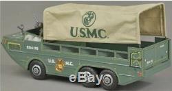 VINTAGE TIN MARX LUMAR USMC US MARINE CORPS AMPHIBIOUS Truck With Box Minty! Exc