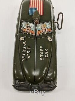 VTG Louis Marx Litho Tin Wind Up U. S. A. USA Military Staff Car Toy W-601158