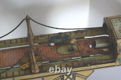Vintage 1920's Marx Busy Bridge Tin Litho Windup Toy Working