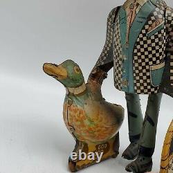 Vintage 1930 Marx Joe Penner & His Duck Goo Goo Tin Litho Wind Up Toy Read