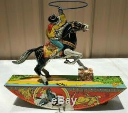 Vintage 1930 Marx Tin Litho Wind Up Toy Cowboy Range Rider Works Good Louis Marx