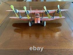 Vintage 1930's Marx Four Propeller TWA Airmail Biplane Tin Windup Toy Airplane