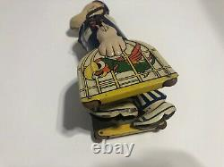 Vintage 1930's Marx Popeye Wind-Up Toy Parrot Bird Cage Tin Litho RARE Working