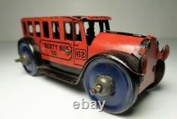 Vintage 1930's Marx Red & Black Friction Inertia Liberty Bus Tin Litho