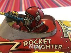 Vintage 1930's Marx Tin Litho Flash Gordon Rocket Fighter Wind Up Friction Toy