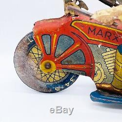 Vintage 1930s MARX USA Tin Wind Up Police Motorcycle Nice Works 8.5L 7H 3.5W