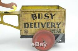 Vintage 1930s Marx Busy Delivery Black Pinocchio Wind Up Tin Toy Working