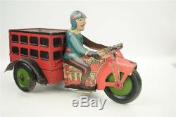 Vintage 1930s Marx Motorcycle Delivery Boy Tin Windup Toy 9.5 Working