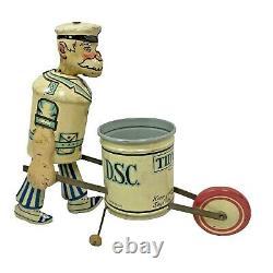 Vintage 1930s Marx TIDY TIM Wind-Up City Street Sweeper Tin Litho Walker Toy