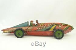 Vintage 1935 Marx Rocket Racer Tin Toy Windup Car 16 long