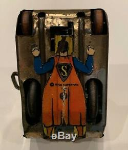 Vintage 1940 Marx Superman Tin Wind Up Turnover Tank! Rare