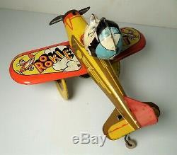 Vintage 1940's Marx Rookie Pilot Airplane Tin Wind-Up Toy Plane Motor Works