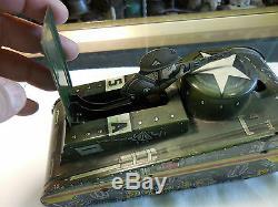 Vintage 1940's Marx Tin Litho Doughboy Wind-Up Tank, no key, no barrel, may work