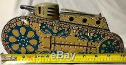 Vintage 1940's Marx Toys Tin Litho Wind Up 10 Tank with Gunner Works Great
