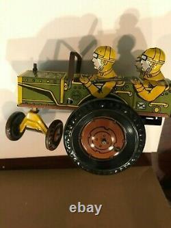 Vintage 1940s Marx Jumpin Jeep Wind Up Tin Toy C9 NEAR MINT BEST ON EBAY