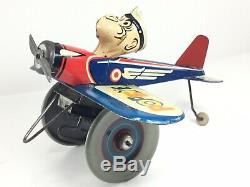 Vintage 1940s Marx Wind Up Tin Toy Popeye The Pilot Airplane