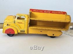 Vintage 1950 Marx Pressed Steel yellow Coca-Cola Delivery Truck