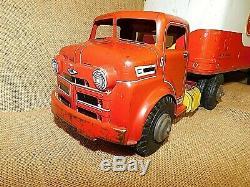Vintage 1950's MARX TOYS Tin Litho LUMAR VAN LINES Truck & Trailer EXCELLENT