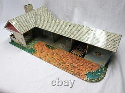 Vintage 1950's MARX Tin Doll House Mid Century Vintage Modern Ranch Suburban