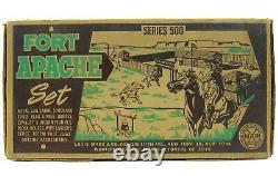Vintage 1950's Marx Fort Apache Cavalry Indian Tin Playset withBags Insert & Box