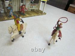 Vintage 1950's Marx Tin Lithograph Western Town withRobbers & Jailer Figures