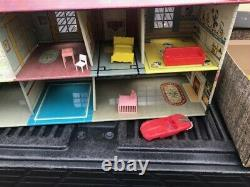 Vintage 1950's Marx Tin Metal Doll House Disney Room 2 story house with furniture