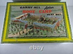 Vintage 1950s MARX US ARMY BOOT CAMP PLAYSET TIN CARRY All 3 Tootsietoy Trucks