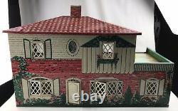 Vintage 1950s Marx Metal Tin Litho Dollhouse Suburban Colonial