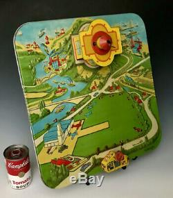Vintage 1950s Tin Litho Wind Up Airplane Futurmatic Airport Automatic Toy Co NY