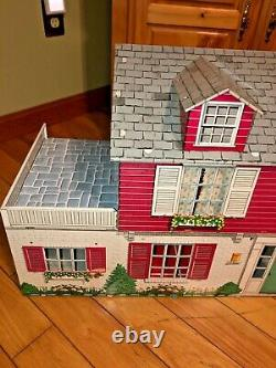 Vintage 1952 Louis Marx Large Pressed Tin Litho 2 Story Red Colonial Dollhouse