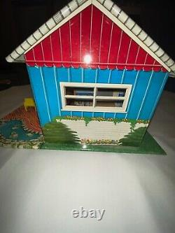 Vintage 1953 Marx Tin Metal Doll House T-Shape Ranch Mid Century