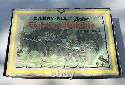 Vintage 1968 Louis Marx Tin Litho CarryAll Action FIGHTING KNIGHTS PLAYSET #4635