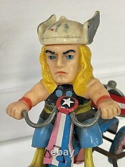 Vintage 1968 MARX Tin Wind Up Marvel Super Hero THOR Tricycle Working