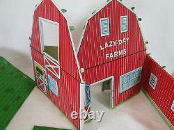 Vintage 1969 Marx tin Lazy Day Modern Farm set barn animals shed tractor #3931