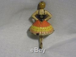 Vintage Antique MARX Toy Ballerina Spinning Top Tin Litho