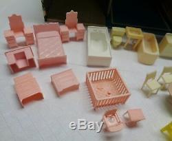 Vintage Disney Marx Doll House & Furniture 2 Stories & Box Tin Toy Metal #B