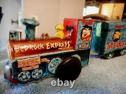 Vintage Flintstones Bedrock Express Choo choo Train tin wind up toy Marx 60s