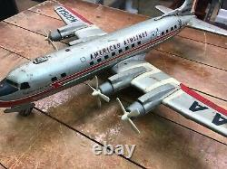 Vintage LINE MAR Marx Toys Line Tin Battery Airplane American Airlines N305AA