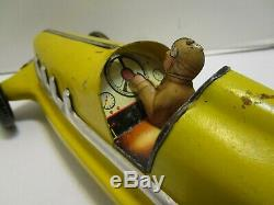 Vintage Large Marx Pressed Steel & Tin Boat Tail Race Car