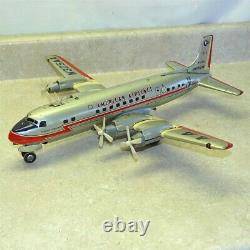 Vintage Line Mar Japan Tin American Airlines DC7 Plane, Battery Operated