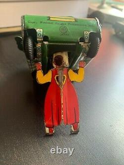 Vintage Linemar Superman Tank Tin Wind Up Toy Green 50's Works partially Rare