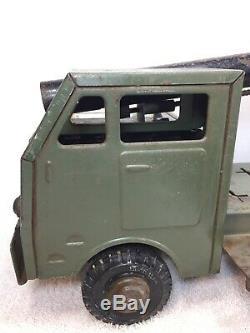 Vintage Louis Marx Mobile Lumar Long Range Atomic Cannon Truck Green Read Desrip