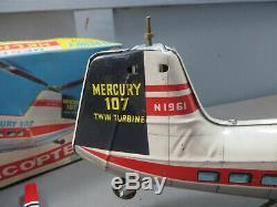 Vintage MARX MECHANICAL WIND UP TIN LITHO MERCURY 107 HELICOPTER withBOX