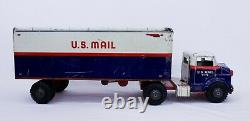 Vintage MARX TOYS V-172 U S Mail Postal Truck & Trailer 25 Tin Litho. 1950's