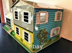 Vintage MARX Tin Litho Dollhouse 50's w / Furniture Rare Split Level / 2 Story