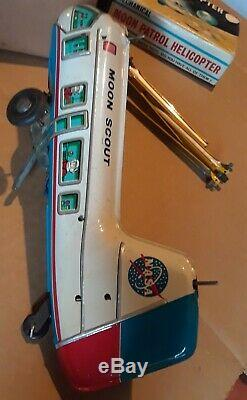 Vintage MARX Tin Litho Wind Up MOON PATROL HELICOPTER Space TOY w Orig BOX