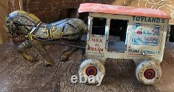 Vintage MARX Tin Lithograph Windup Toyland Dairy Horse Drawn Wagon