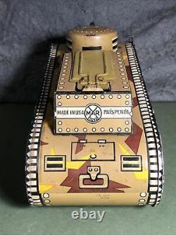 Vintage Marx 10 Doughboy Tank Tin Wind Up Toy Works Missing Key