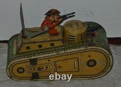 Vintage Marx 10 Doughboy Tank Toy Tin Windup 1930s Works HAS KEY