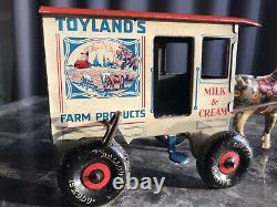 Vintage Marx 1940 Litho Tin Wind Up Horse And Milk&Cream Wagon